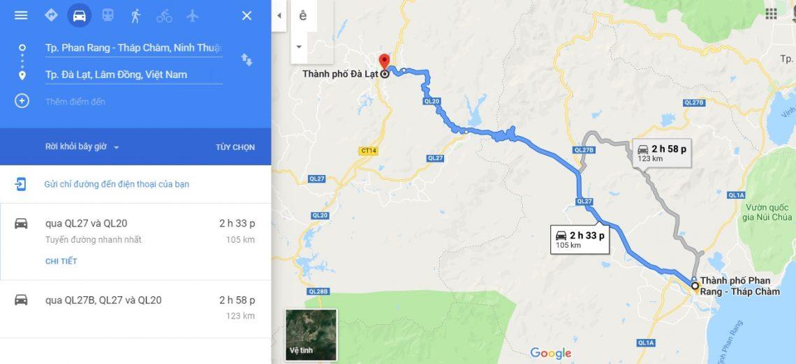 Từ Phan Rang Ninh Thuận đi Đà Lạt bao nhiêu km, mất bao lâu?