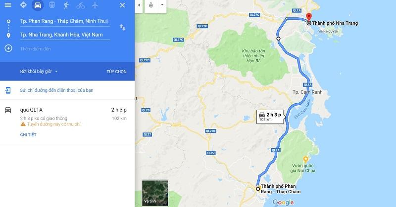 Phan Rang Ninh Thuận đi Nha Trang bao nhiêu km và mất bao lâu?